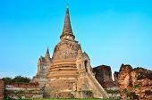 Pagoda of ancient broken Ayuthaya temple of Thailand