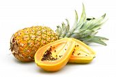 picture of papaya  - Papaya and pineapple photographed on a white background - JPG