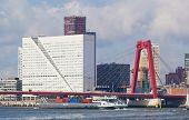 View of Willemsbrug Bridge in Rotterdam