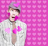 Man In Love Romance On Heart Design Background