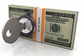 stock photo of treasury  - 3d render of locked dollar pack with key - JPG