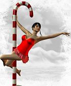 stock photo of pole dance  - 3 D Render of Sexy North Pole Dance - JPG
