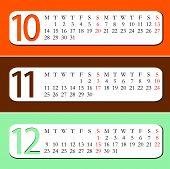 2013 Calendar - October, November, December