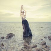 Glamorous Lady Standing In Sea