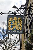 Golden Lion Pub Sign In Chester Uk