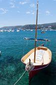 Anchored Sailboats In Sea, Spain