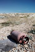 Metal Gas Cylinder Dumped Beach