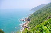 Beautiful spoondrift at foothill of south china