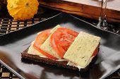 Tomate y queso de eneldo sobre pan de centeno