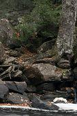 Water Stream Through Rocks