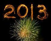 2013 In Sparklers Above Fireworks Explosion