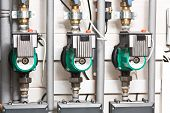 stock photo of thermos  - Modern boiler room equipment for heating system - JPG