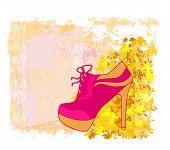 abstract elegant shoe vintage poster , vector illustration