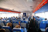 stock photo of hydrofoil  - The interior of a hydrowing ship day - JPG