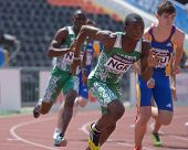 DONETSK, UKRAINE - JULY 13: Oduduru (in front) and Atuma, both of Nigeria, compete in the boys medle
