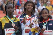DONETSK, UKRAINE - JULY 13: Medalists in 400 m during 8th IAAF World Youth Championships in Donetsk,