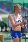 DONETSK, UKRAINE - JULY 13: Asgerdur Jana Agutsdottir of Iceland competes in the javelin throw in Heptathlon girls during 8th IAAF World Youth Championships in Donetsk, Ukraine on July 13, 2013