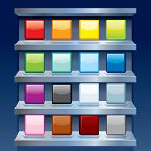 Blank Colorful Apps Icons on Metal Shelfs. Vector