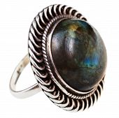 stock photo of labradorite  - silver ring with Labradorite stone isolated on white background - JPG