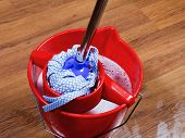 Mop In Red Bucket With Water