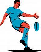 Rugby speler schoppen bal