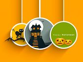 Tags, labels or stickers with haunted house and scary pumpkins for Halloween party background.