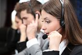 picture of telemarketing  - Call center operators at work - JPG