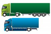 stock photo of 18 wheeler  - European trucks with 2 different cargo types - JPG