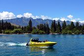 High speed jet boat on the Lake Wakatipu
