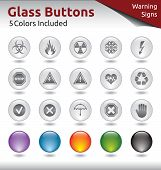 Glass Buttons - Warning Signs