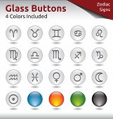 Glass Buttons - Signs Of The Zodiac