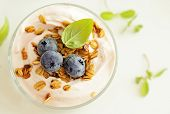 fresh yogurt with fruits and granola