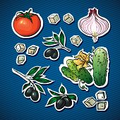 vegetable salad ingredients. olives, feta cheese  for family health