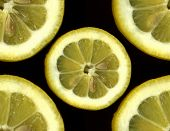 foto of midsagittal  - Lemon slice isolated on blacke Northern Caucasus Russia - JPG