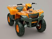stock photo of four-wheeler  - Sports quad bike on a grey background - JPG