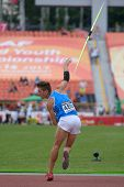 DONETSK, UKRAINE - JULY 11: Simone Fassina of Italy competes in javelin throw in Octathlon during 8th IAAF World Youth Championships in Donetsk, Ukraine on July 11, 2013