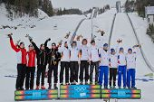 SEEFELD, AUSTRIA - JANUARY 19 Team Germany wins the mixed biathlon relay event, Norway places second