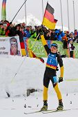 SEEFELD, AUSTRIA - JANUARY 19 Niklas Homberg of team Germany wins the mixed biathlon relay event on