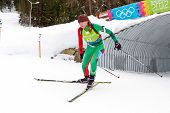 SEEFELD, AUSTRIA - JANUARY 19 Liudmilla Kiaura of team Belarus places 10th in the mixed biathlon rel