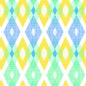 Colorful fabric ikat diamond seamless pattern background