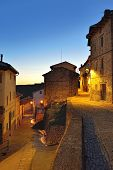 Streets Of The Old Town Ares In Spain.  Evening Time.