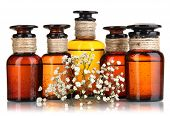 picture of mixture  - Medicine bottles isolated on white - JPG