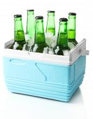stock photo of refrigerator  - Bottles of beer with ice cubes in mini refrigerator - JPG