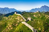 stock photo of green wall  - Great Wall of China in summer day Jinshanling section near Beijing - JPG