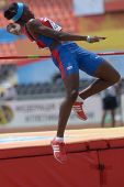 DONETSK, UKRAINE - JULY 12: Jersy Diaz of Cuba competes in high jump in Heptathlon during 8th IAAF World Youth Championships in Donetsk, Ukraine on July 12, 2013
