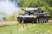 Borodino, Russia - 25 May, 2008: Fascist Tank Fire At Perfomance Of Real Second War Actions Borodino