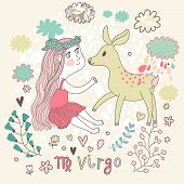 Cute zodiac sign - Virgo. Vector illustration. Little beautiful girl with long hair playing with lovely fawn with in the clouds and flowers. Doodle hand-drawn style.