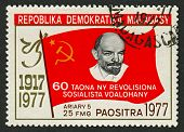 MADAGASCAR - CIRCA 1977: A stamp printed in Madagascar shows image of The Russian Revolution is the collective term for a series of revolutions in Russia in 1917,  circa 1977.