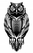 stock photo of owl eyes  - Majestic owl bird for mascot or tattoo design - JPG