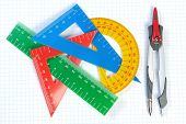 image of protractor  - Set of multicolored lines of triangles protractors and Caliper - JPG